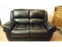 2 seat reclining sofa black