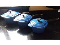 Le Creuset three piece pot set - Blue - 16cm, 18cm and 20cm
