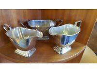 Two Silver-plated Jugs and Silver-plated Pot in Good Condition