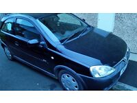 2002 vauxhall corsa 3door 1.2petrol black long mot cheap