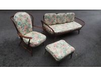 Vintage Retro Mid Century Ercol Day Bed Studio Couch Armchair And Footstoll