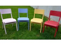 REDUCED FOR 24 HOURS NOW £60 4 painted up cycled vintage chairs on trend colours
