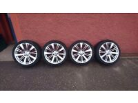 """Bmw riva alloy wheels 18"""" with four excellent condition hankook icebear tyres"""