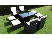 New Mixed Brown Rattan Garden Furniture Set 8 Seater Garden Conservatory Furniture