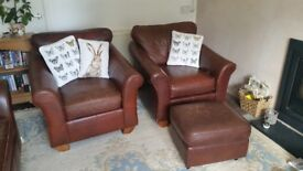M&S brown leather sofa with 2 matching arm chairs and a footstool