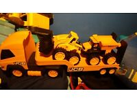 JCB TRAILER WITH DIGGER AND DUMPER TRUCK