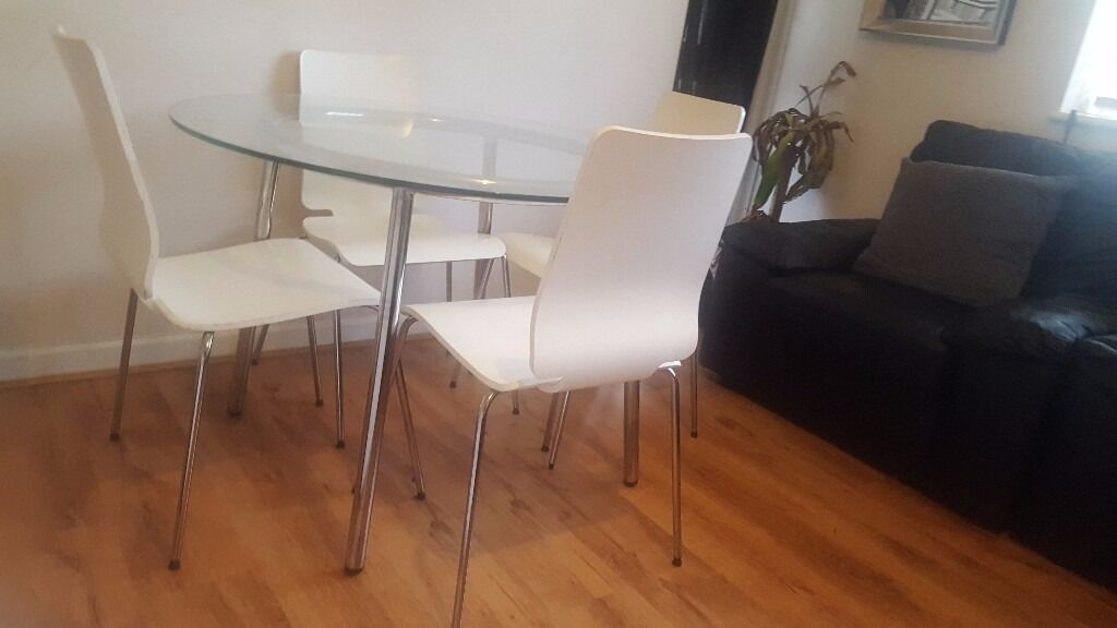 GLASS IKEA ROUND DINING TABLE AND CHAIRS | in Richmond ...
