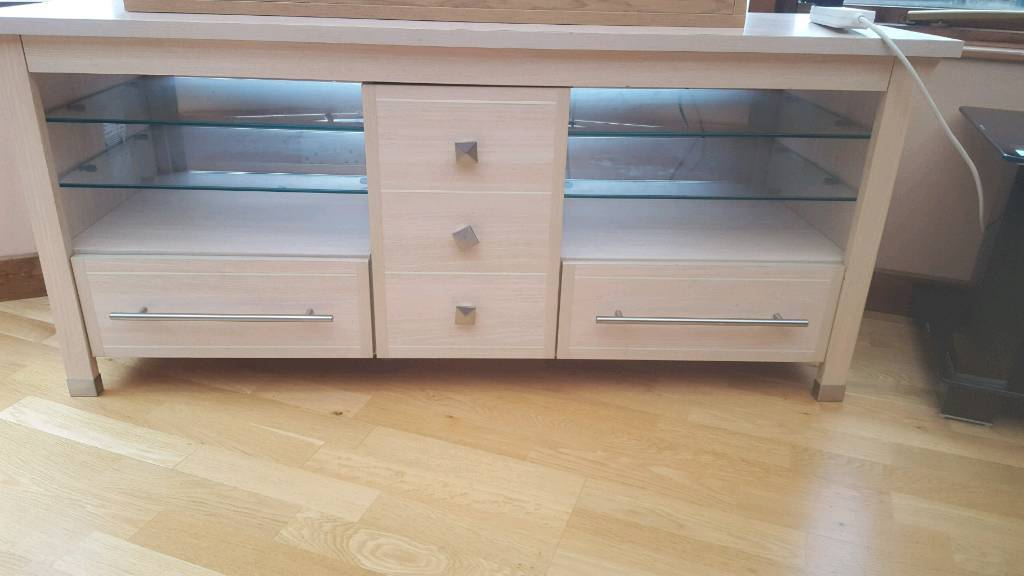 2 drawer Wooden unit with glass shelfs