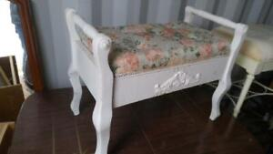 Oakville PIANO STOOL BENCH  26w x 14 d x 17.5 h  Shabby Chic Upholstered Off-white Solid Wood