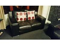 2 & 3 Black Leather Sofa