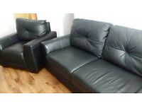 Black Leather Sofa & Chair