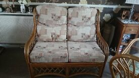 Cane furniture two seater settee and matching Bistro set