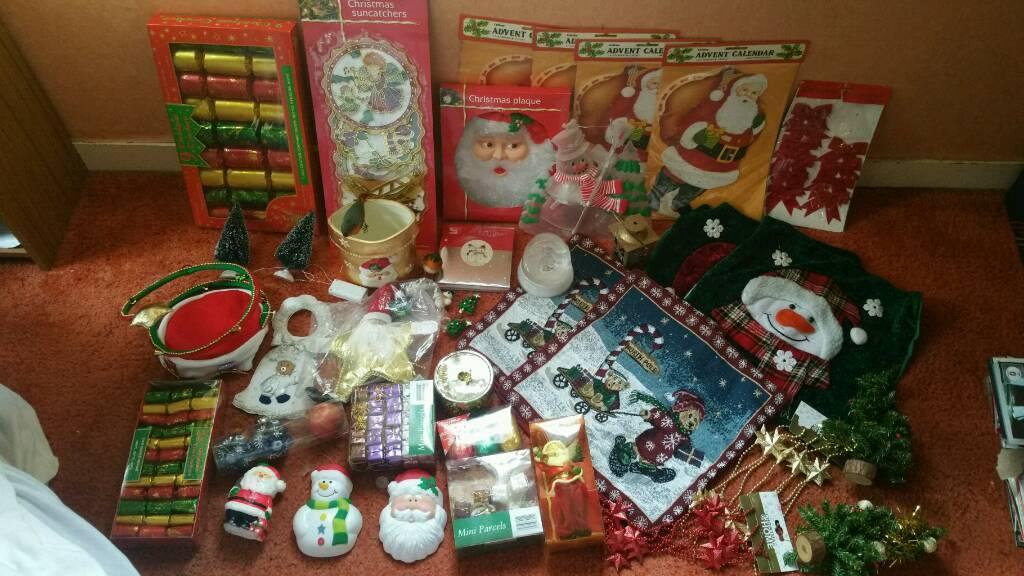 Job lot of Christmas decorations ornaments mini trees ...