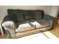 3+2 seater black and grey sofa
