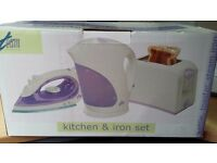 Matching kettle iron and toaster set brand new