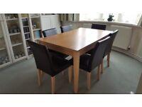 Oak Vaneer Dining Table & 6 chairs