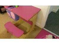 Kids pink desk and seat