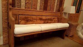 Church pew, solid oak 5 ft long