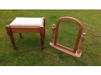 Pine Dressing Table Stool & Mirror