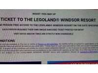 2 tickets for legoland -18th October