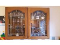 Glass display cabinets x 2 . solid oak doors each cabinet 500mm. FREE