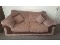 2 DFS brown chord sofas one is a sofa bed with pull out mattress
