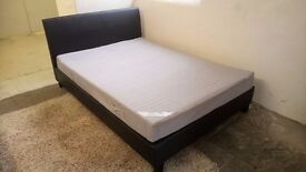 IKEA KING size BLACK leather bed with slats & IKEA mattress £135 CHEAP DELIVERY Stalybridge SK15 2PT