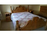 Antique pine queen sized bed frame and memory foam mattress
