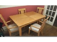 Extending Beech Dining Table with 4 chairs