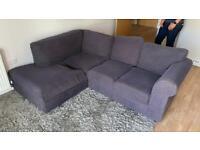 L shaped dark blue comfy sofa