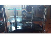 Corner TV unit black glass and chrome