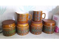 Hornsea Bronte: Four storage canisters with wooden lids plus sauce jug and mug