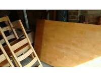 Large beech table and 6 chairs