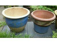Two beautiful large ceramic terracotta plant pots
