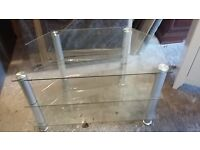 TV Stand - glass with chrome legs