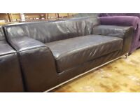 Two Seat Dark Brown Leather Sofa