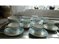 Set of 9 old victorian cups and saucers plus sugar bowl. 9 cups and saucers.