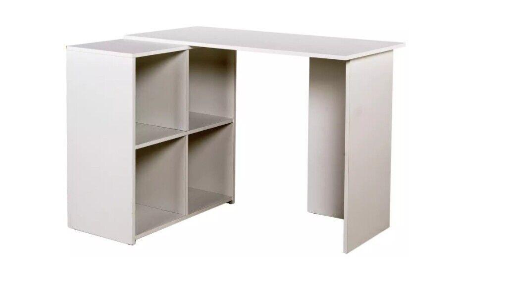 ARGOS White Corner Desk with Shelves *RRP £70*