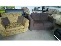 Next brown and green loveseat and 2 seater brown sofa. £130 ono