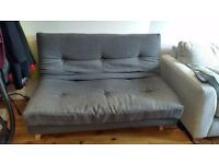 Grey compact futon double sofa bed, good condition.