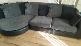 DFS corner sofa with scatter cushions. Large chair and moon shape foot stool