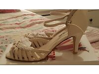 Cream Satin Wedding Shoes Size 6