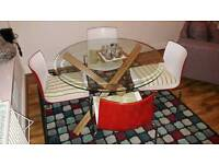 Solid Oak Glass top dining table + 4 contemporary chairs