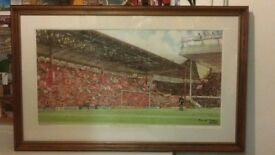"""' THE LAST GAME AT THE KOP '- LARGE ( 34 1/2"""" x 21 1/2"""" ) FRAMED AND GLAZED COLOUR PRINT BY F.GREEN"""