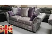 Brand new Chelsea silver velvet crush 3&2 sofas free delivery