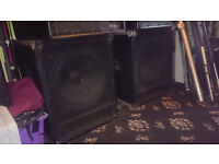 "Precision Devices 18"" Sub Bass Bass Bins (Gauss Drivers) with top hats and handles"