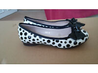 Womens Black White Polka Dots Bow Shoes Uk 3 (Eur 35) *Great Xmas Present*