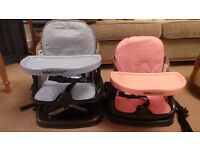 Baby Booster Seats - with tray. Fold away to carry (2 available - 1 blue , 1 pink)