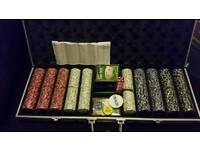 Poker cards chips dice set in case