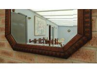 Large Antique Vintage Carved Oak Octagon Bevelled Mirror